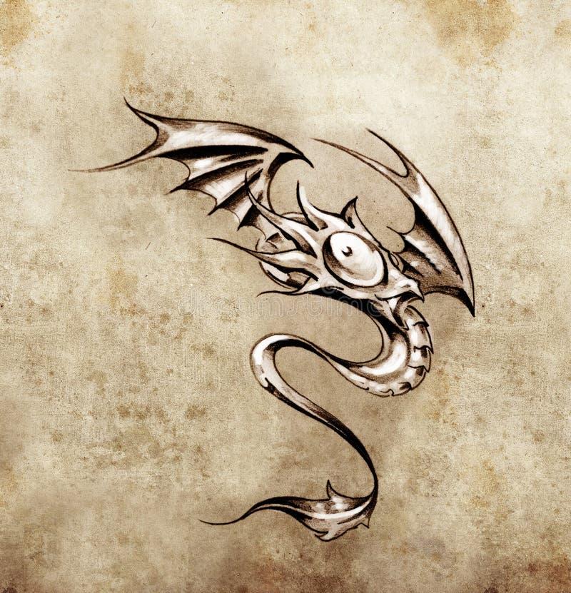 Petit dragon drôle. Croquis d'art de tatouage illustration stock