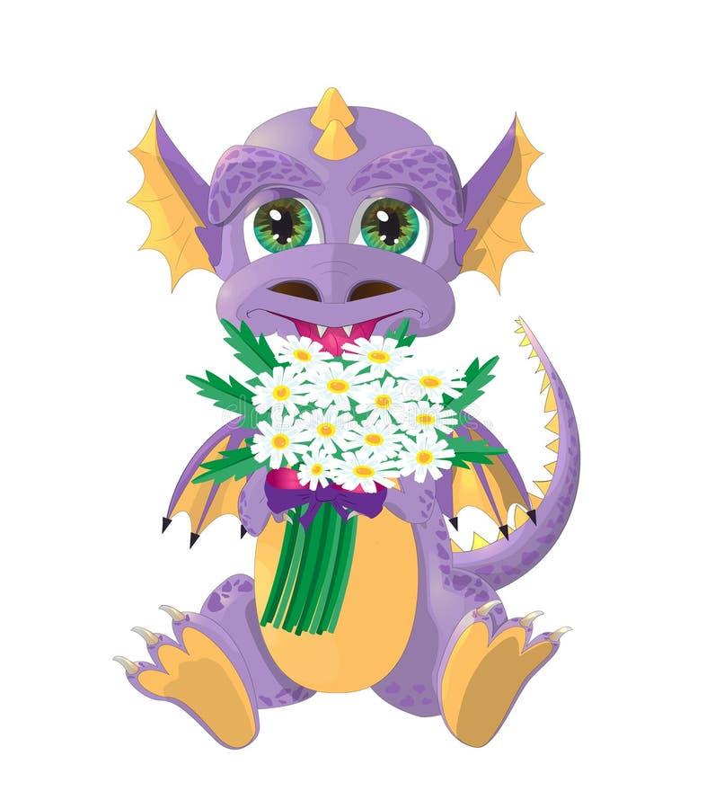 Petit dragon mignon avec le bouquet des fleurs Dragon avec la camomille illustration libre de droits