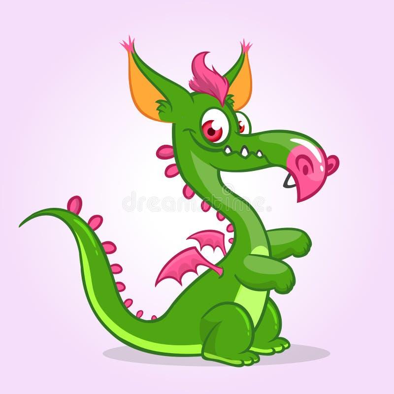 Petit dragon mignon de bande dessinée Dirigez l'illustration du monstre de dragon avec de petites ailes illustration stock