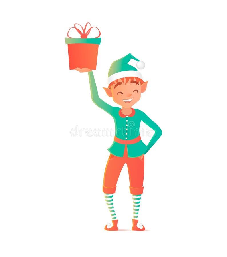 Petit elfe tenant et tenant le cadeau Noël Descripteur de conception de vecteur illustration stock