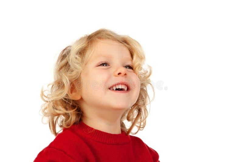 Petit enfant blond heureux photo stock