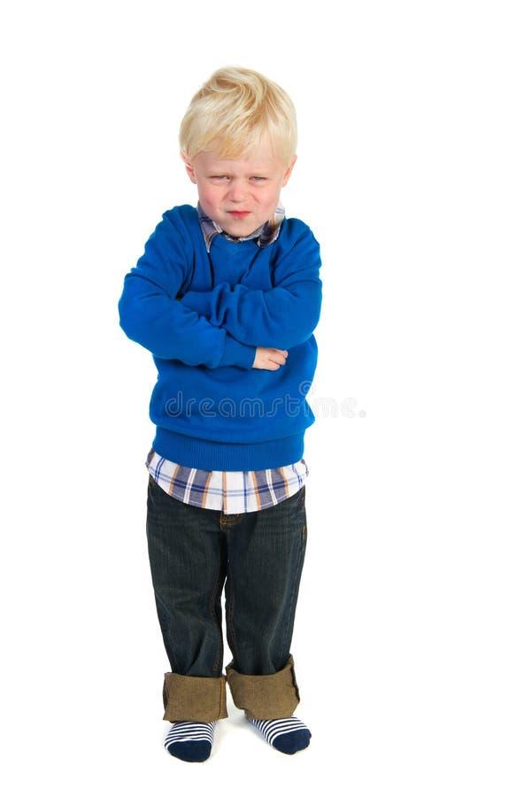 Petit enfant en bas âge blond fâché photos stock