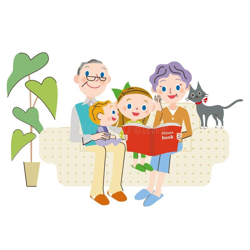 Download Petit-enfant et lecture illustration de vecteur. Illustration du sofa - 76081145