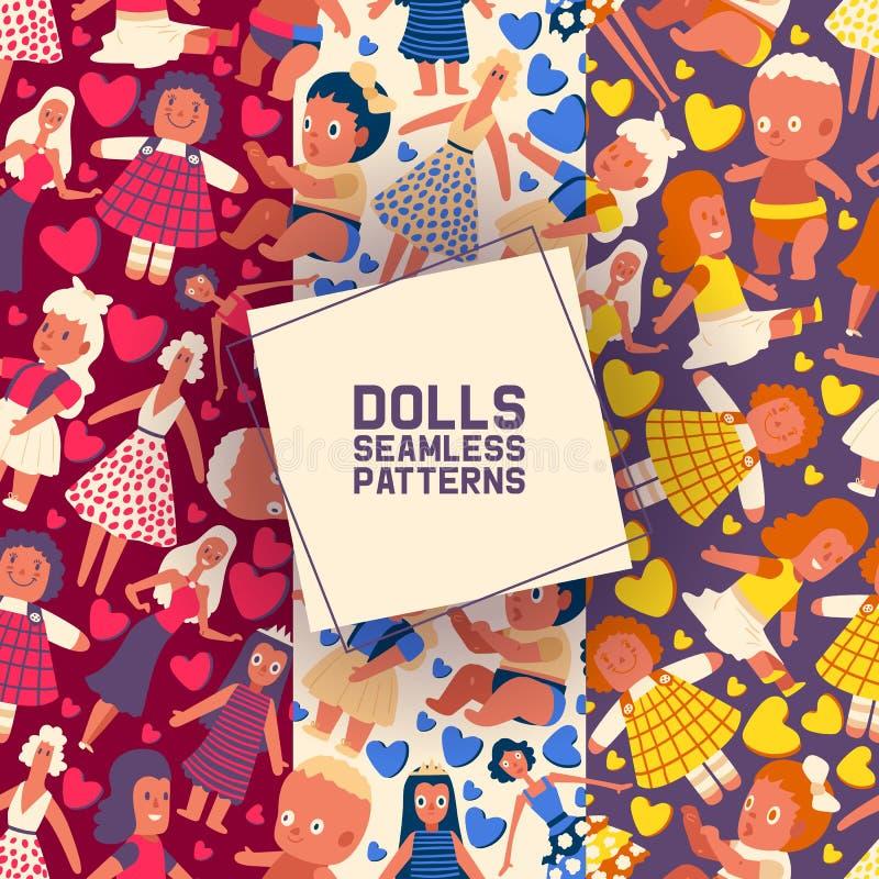Petit ensemble de collection de poupées d'illustration sans couture de vecteur de modèles Jouet dans la robe d'été avec des coeur illustration de vecteur