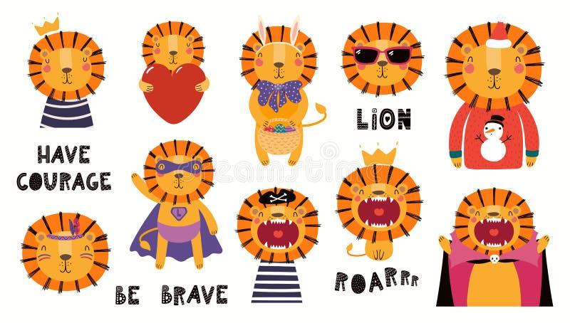 Petit ensemble mignon d'illustrations de lion illustration libre de droits