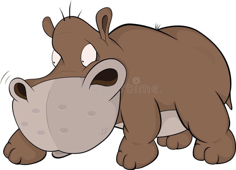 Petit et malveillant hippopotamus. Dessin animé illustration libre de droits