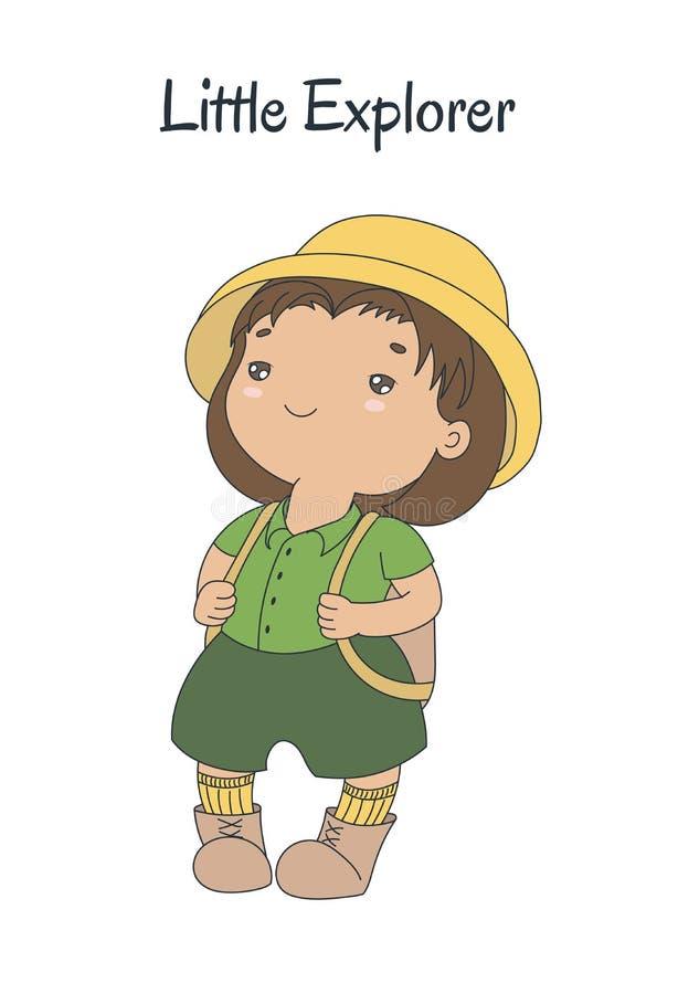 Petit explorateur mignon illustration de vecteur