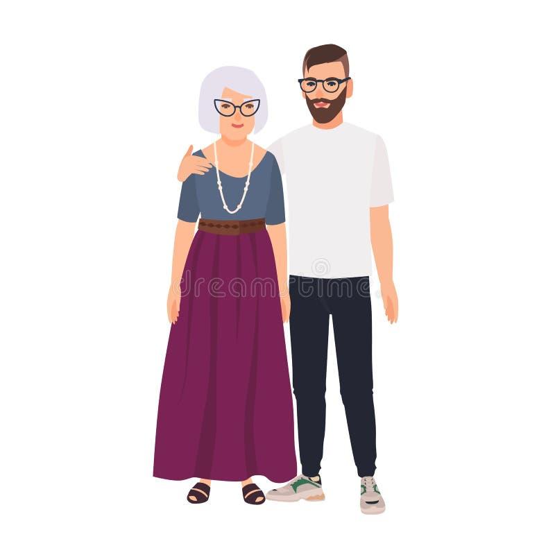 Petit-fils embrassant sa grand-mère Portrait de famille de vieille mère et de fils adulte se tenant ensemble Bande dessinée adora illustration stock
