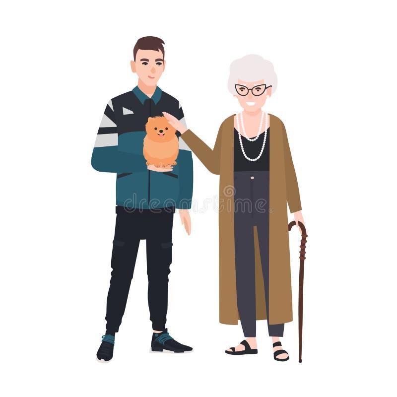 Petit-fils et grand-mère choyant peu de chien Portrait de famille de vieille dame et d'adolescent se tenant ensemble adorable illustration libre de droits