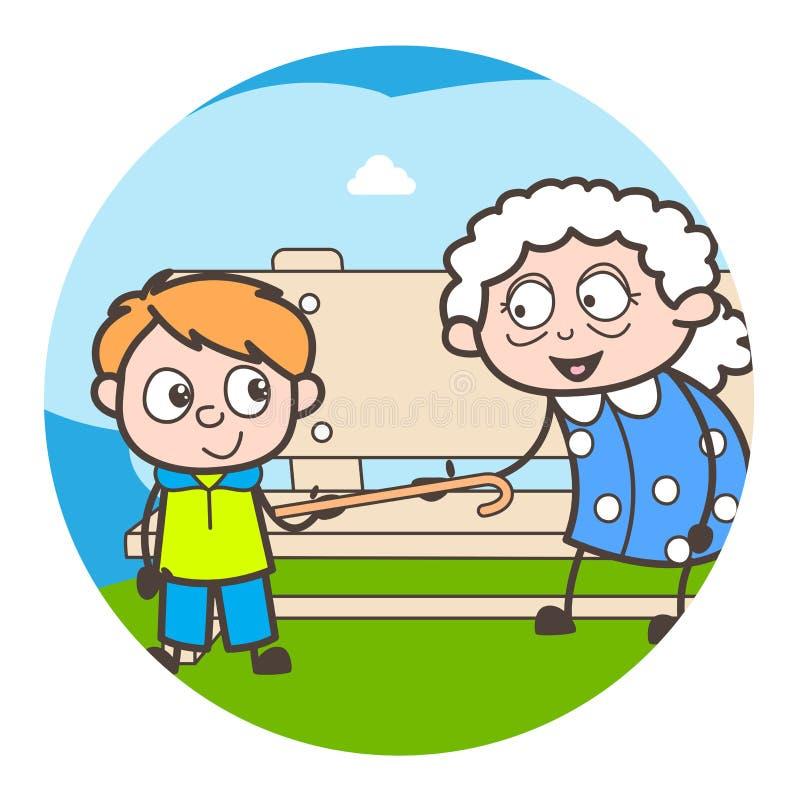 Petit-fils vilain de bande dessinée jouant avec le concept de vecteur de grand-maman illustration libre de droits