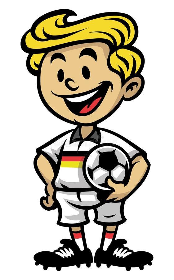 Petit footballeur posant avec la boule illustration stock