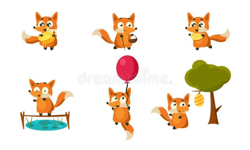 Petit Fox mignon faisant l'ensemble différent d'activités, Forest Animal Character adorable dans le vecteur différent de situatio illustration libre de droits