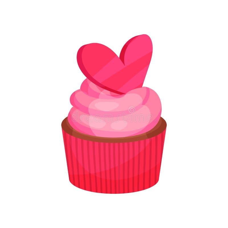 Petit gâteau appétissant avec de la crème rose décorée du coeur r Nourriture douce Conception plate de vecteur illustration de vecteur