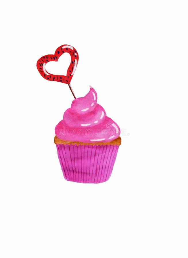 Petit gâteau avec de la crème rose et le caramel en forme de coeur illustration libre de droits