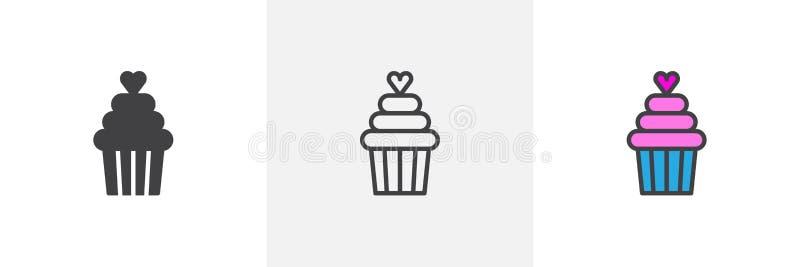 Petit gâteau avec différentes icônes de style de coeur illustration de vecteur