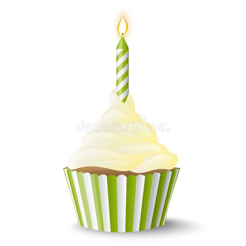 Petit gâteau avec la bougie illustration de vecteur