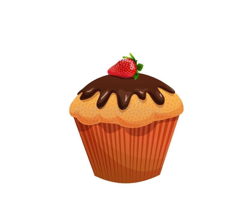 Petit gâteau avec le glaçage et les fraises de chocolat illustration de vecteur
