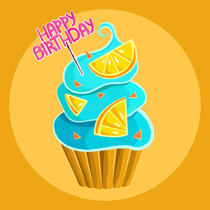 Petit gâteau avec les tranches crèmes bleues d'agrume et le lettrage rose de joyeux anniversaire illustration de vecteur