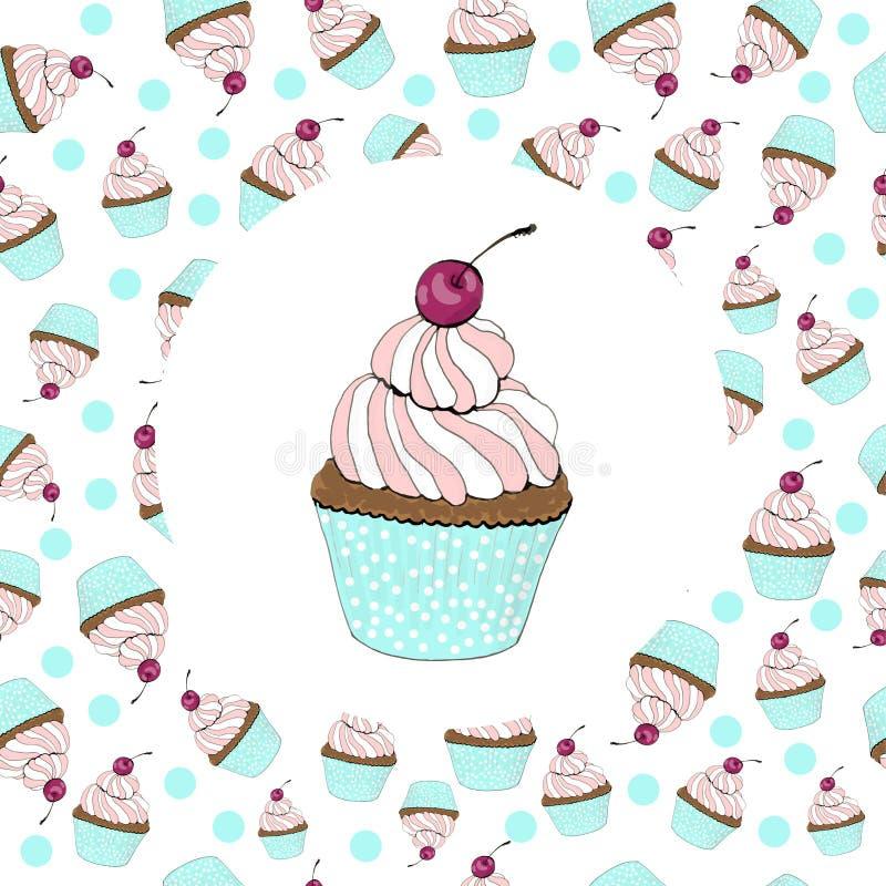 Petit gâteau avec une carte d'anniversaire de cerise illustration libre de droits