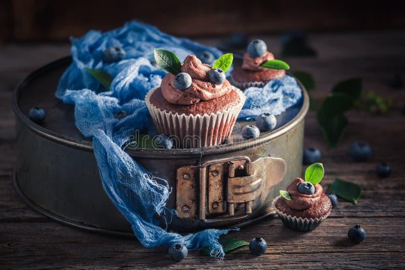 Petit gâteau brun délicieux fait de crème et fruits frais images stock