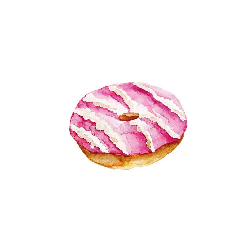 Petit gâteau cuit au four par aquarelle de fruit illustration libre de droits