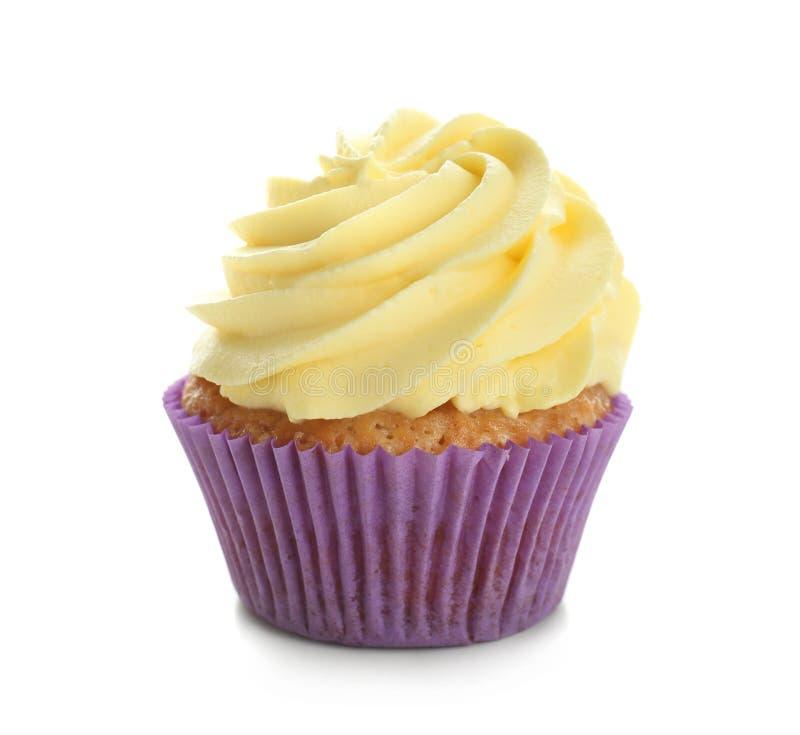 Petit gâteau délicieux de citron sur le fond blanc photos libres de droits