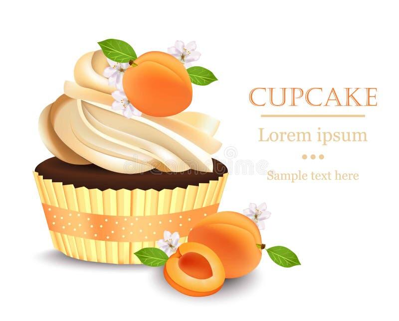 Petit gâteau d'abricot d'isolement sur un fond blanc Dessert réaliste de vecteur Festin délicieux d'été illustration stock