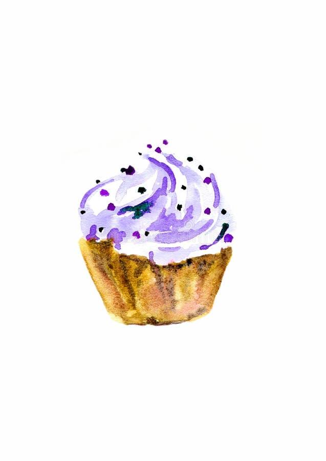 Petit gâteau d'aquarelle avec de la crème Illustration de trame pour faire cuire le site, menus, livres illustration stock
