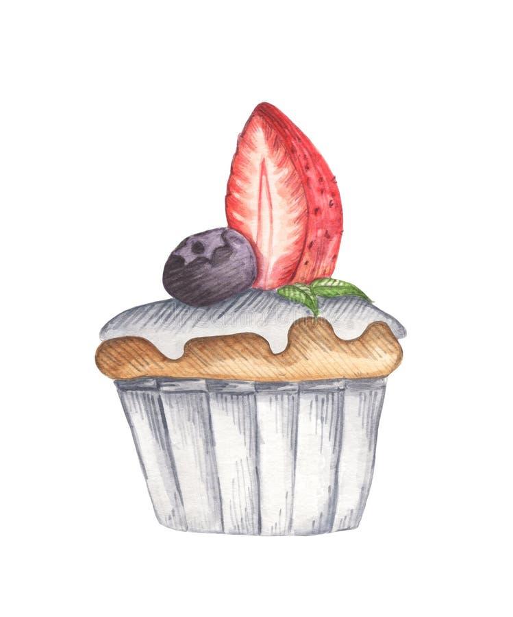 Petit gâteau d'aquarelle avec la fraise et la myrtille illustration de vecteur