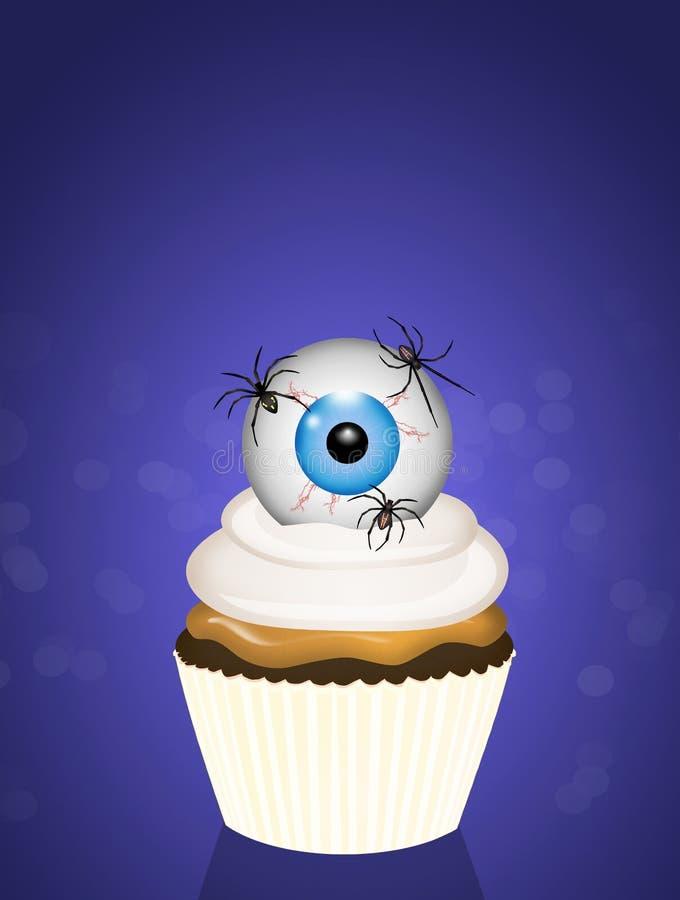 Petit gâteau de Halloween avec l'oeil et les araignées illustration stock