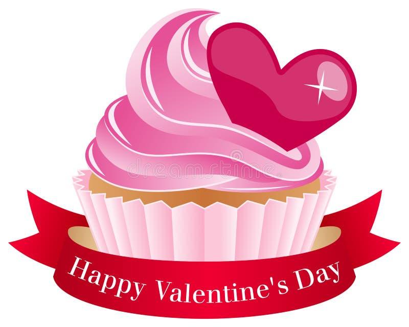 Petit gâteau de jour de Valentine s avec le ruban illustration de vecteur