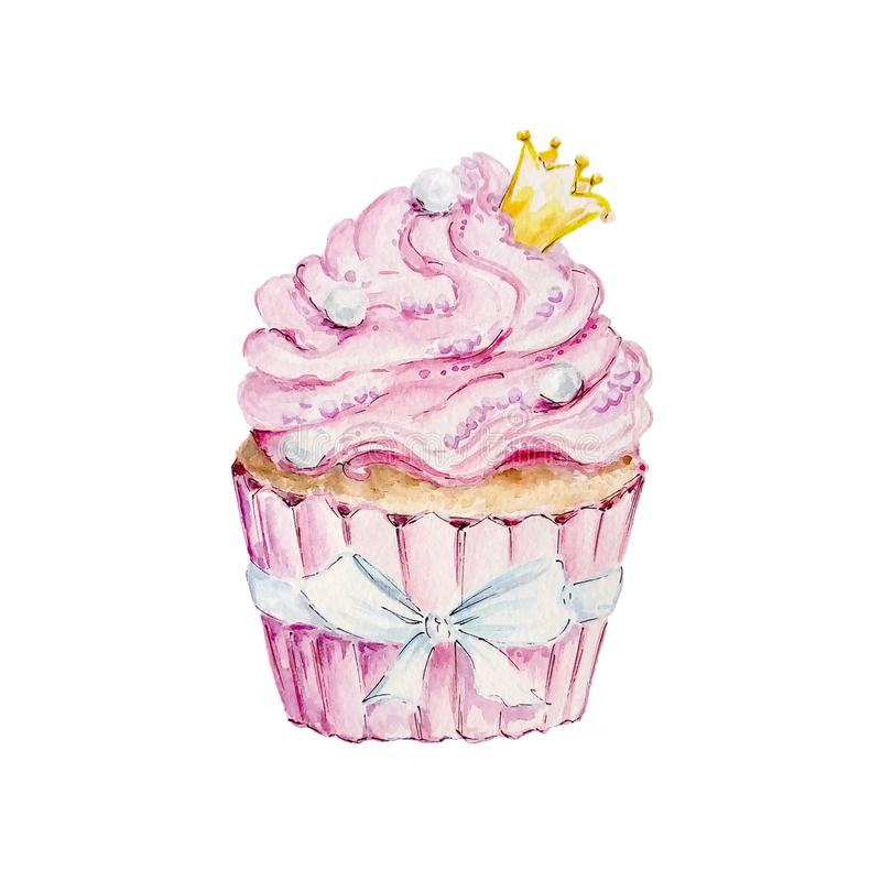 Petit gâteau de rose d'aquarelle avec la couronne jaune illustration libre de droits