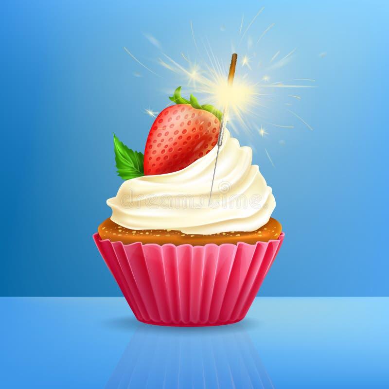 Petit gâteau de vacances avec le vecteur mis le feu du cierge magique 3d illustration stock