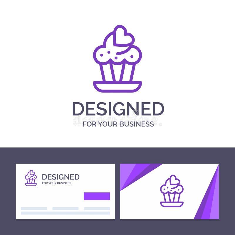 Petit gâteau de visite de calibre créatif de carte de visite professionnelle et de logo, gâteau, illustration de vecteur d'amour illustration stock