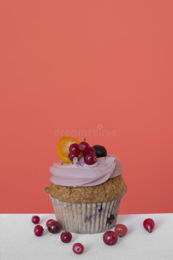 Petit gâteau doux avec des fruits et des baies sur un fond de corail images stock