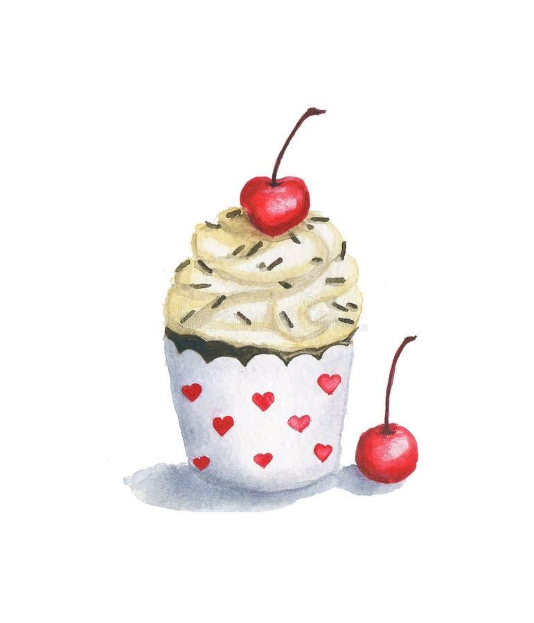 Petit gâteau doux de vanille avec les cerises et les pommes chips de chocolat juteuses illustration de vecteur