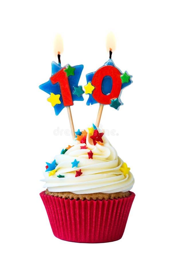 Petit gâteau du numéro dix photo stock