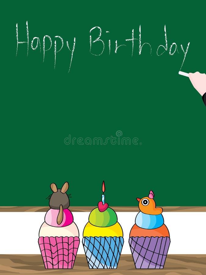Petit gâteau mignon de tasse de joyeux anniversaire illustration stock