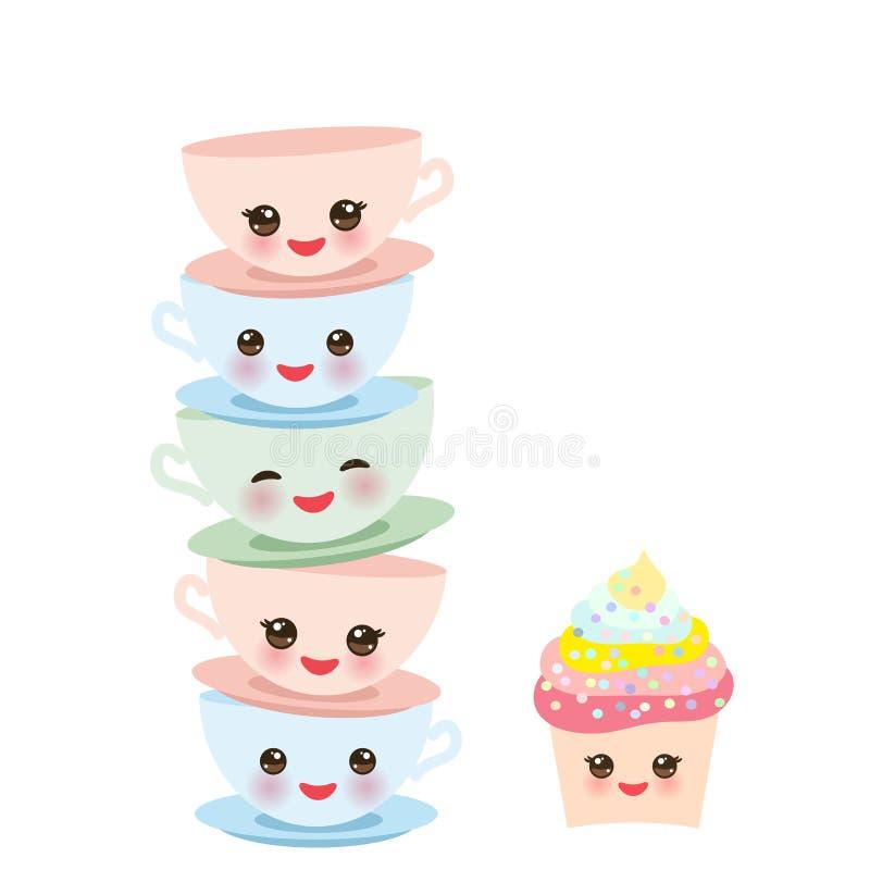 Petit gâteau mignon et ensemble vert rose bleu de tasse de Kawaii, thé de café avec les joues roses et yeux de cligner de l'oeil, illustration stock