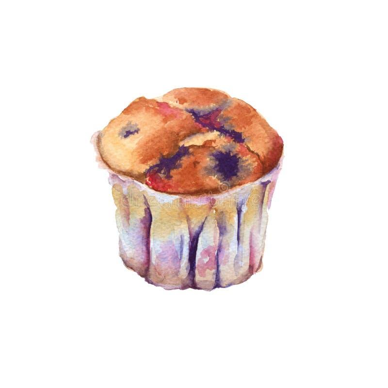 Petit gâteau, petit pain avec le fruit et baies Illustration d'aquarelle illustration de vecteur