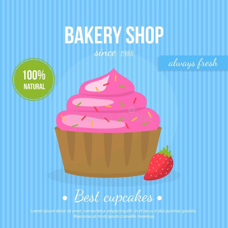Petit gâteau savoureux frais d'affiche décoré photo libre de droits
