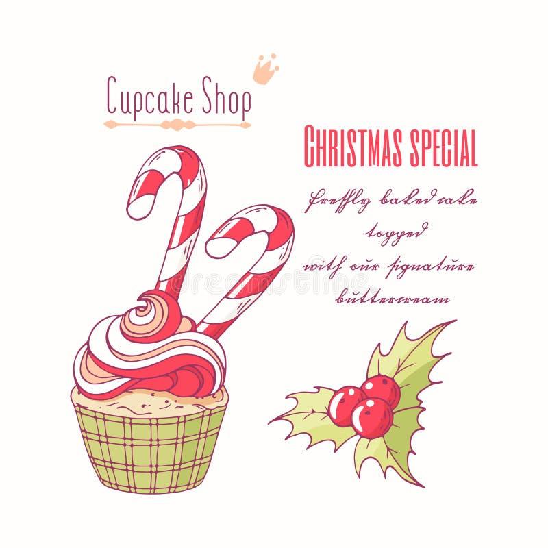 Petit gâteau tiré par la main de Noël avec le houx, la canne de sucrerie et le buttercream de griffonnage pour le menu de boutiqu illustration de vecteur
