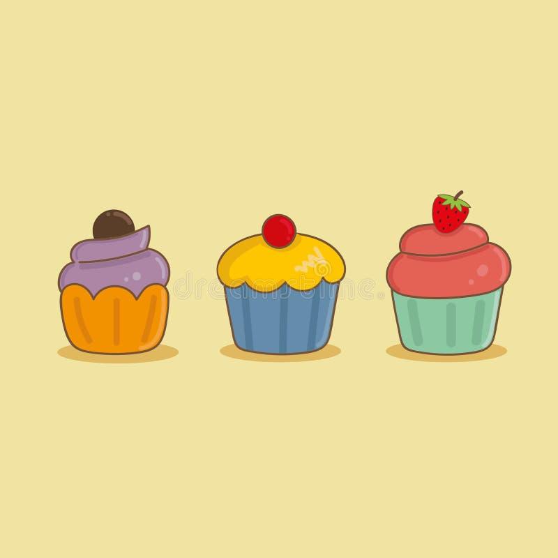 Petit gâteau trois mignon illustration libre de droits