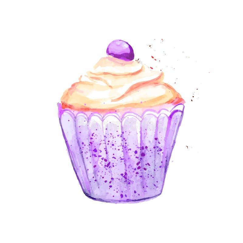 Petit gâteau violet lumineux avec de la crème et la baie jaunes Illustration d'aquarelle de vecteur illustration libre de droits