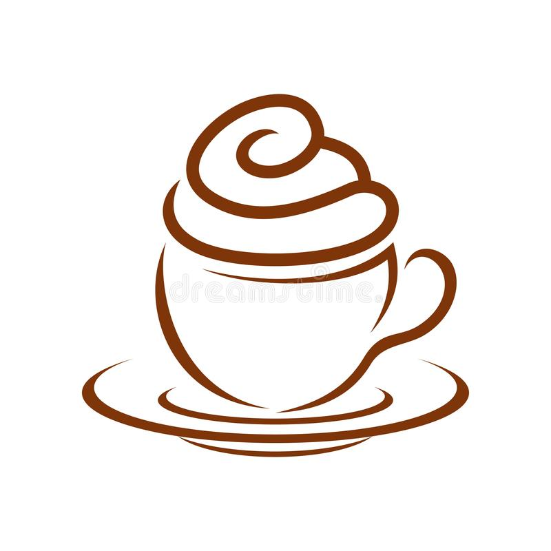 Petit gâteau Whip Cream Breakfast Symbol Design de café illustration libre de droits