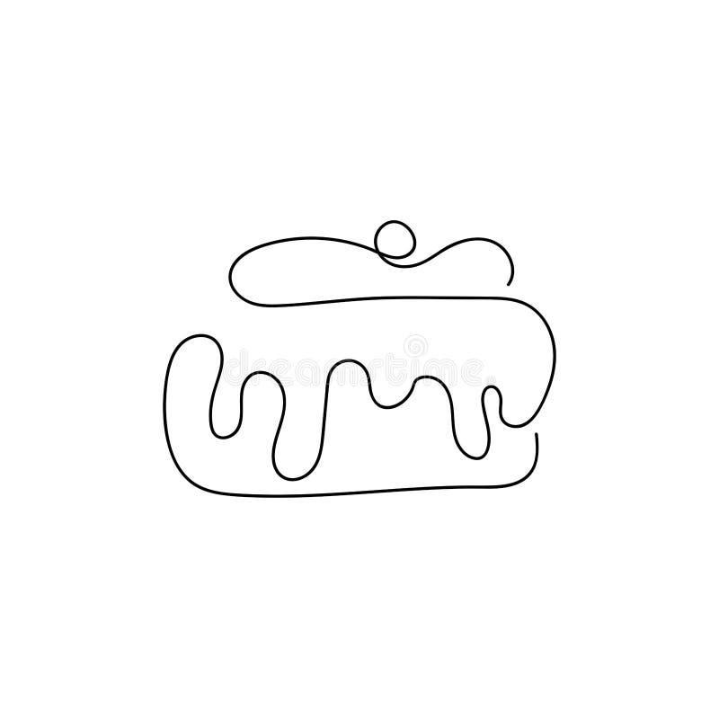 Petit g?teau avec la cerise et la cr?me Dessin? par une ligne simple illustration stock