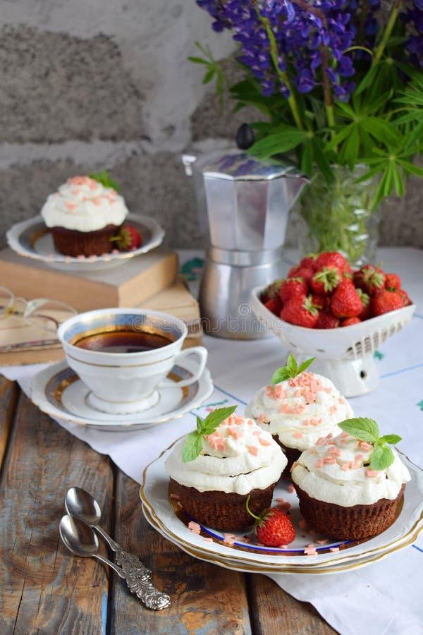 Petit g?teau de chocolat avec de la cr?me et des fraises de vanille Type de cru images stock