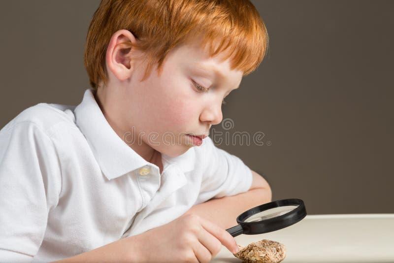 Petit garçon étudiant une roche par une loupe image stock