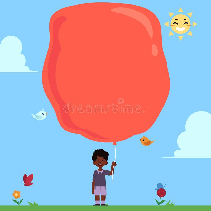 Petit garçon africain avec le ballon rouge extrêmement grand pour l'espace de copie sur le fond de ciel bleu illustration stock