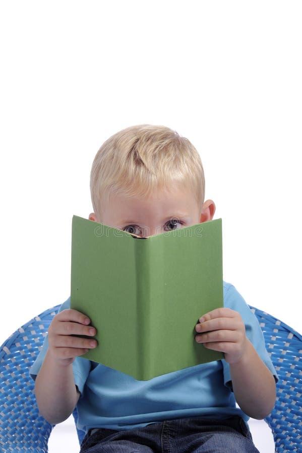Petit garçon avec de grands yeux, affichant un livre photo libre de droits